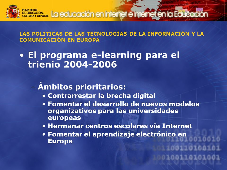 El programa e-learning para el trienio 2004-2006