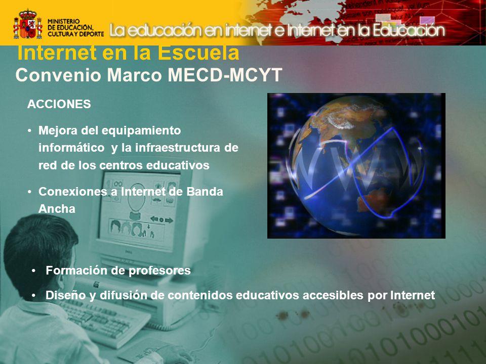 Internet en la Escuela Convenio Marco MECD-MCYT ACCIONES