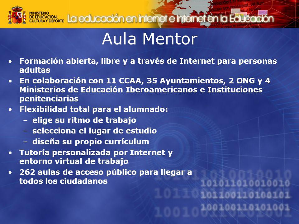 Aula Mentor Formación abierta, libre y a través de Internet para personas adultas.