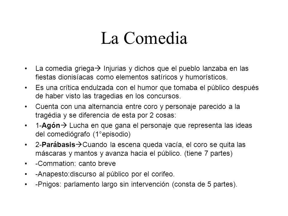 La Comedia La comedia griega Injurias y dichos que el pueblo lanzaba en las fiestas dionisíacas como elementos satíricos y humorísticos.