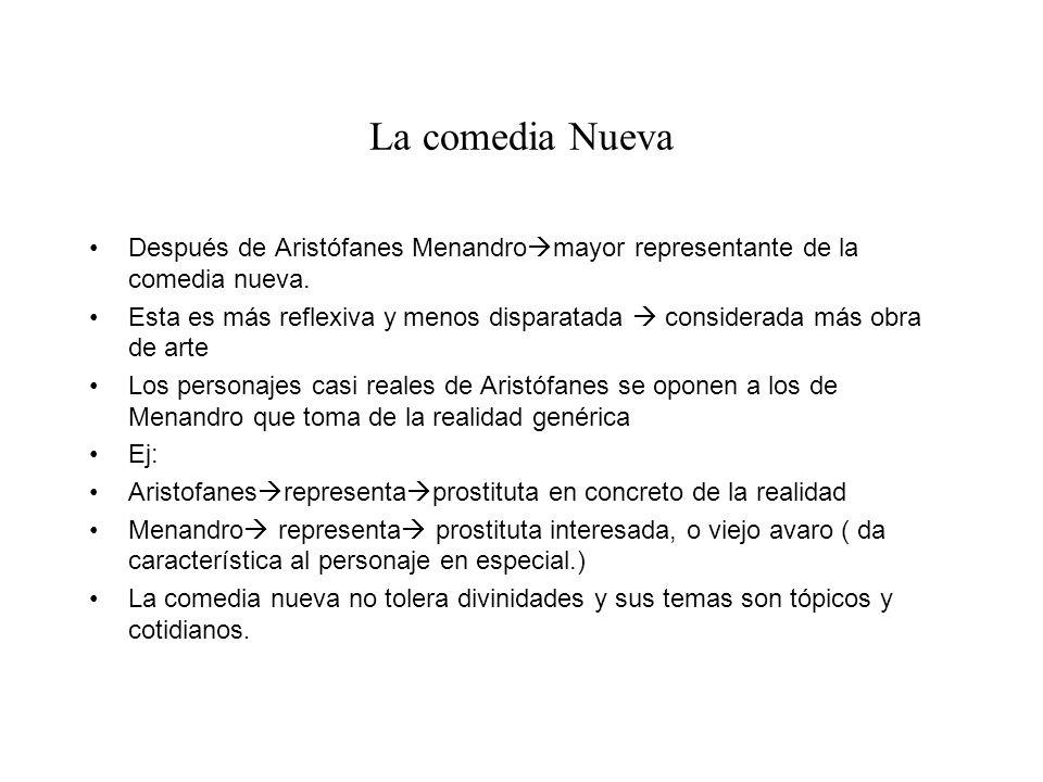 La comedia Nueva Después de Aristófanes Menandromayor representante de la comedia nueva.