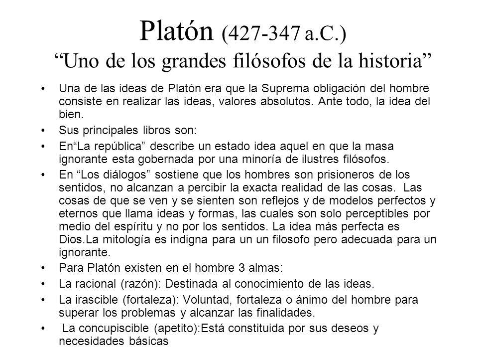 Platón (427-347 a.C.) Uno de los grandes filósofos de la historia