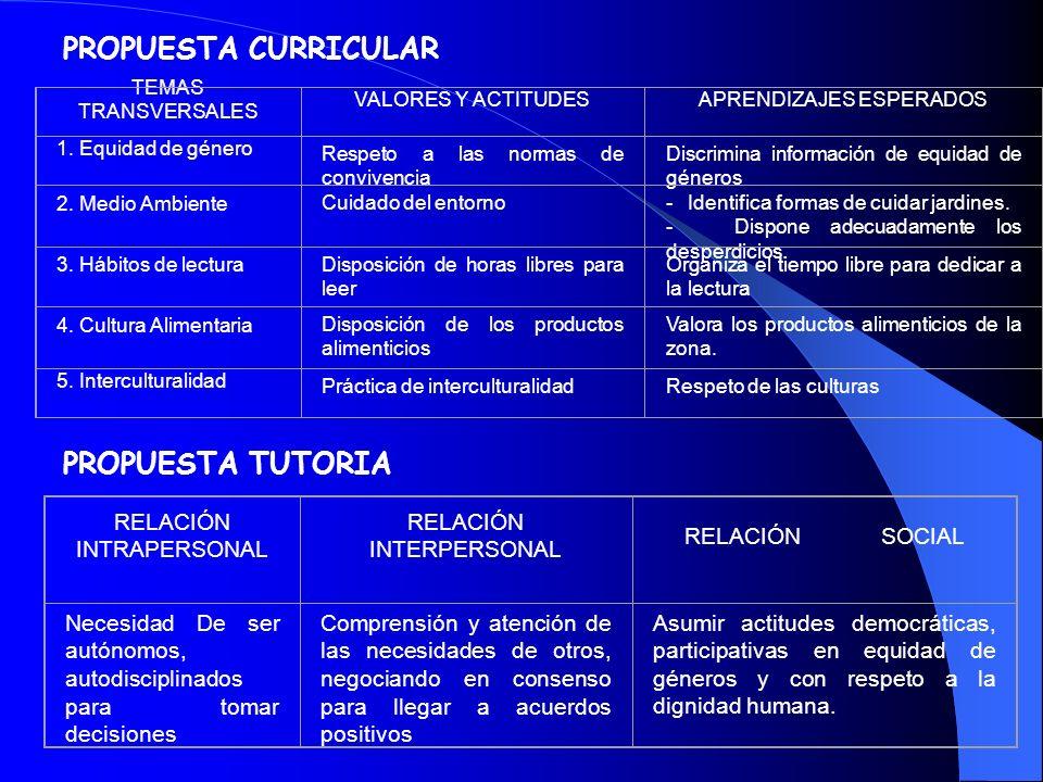 PROPUESTA CURRICULAR PROPUESTA TUTORIA RELACIÓN INTRAPERSONAL