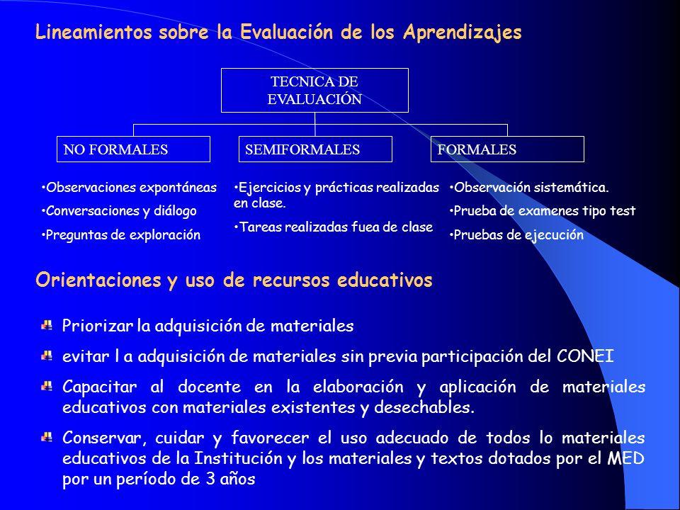 Lineamientos sobre la Evaluación de los Aprendizajes