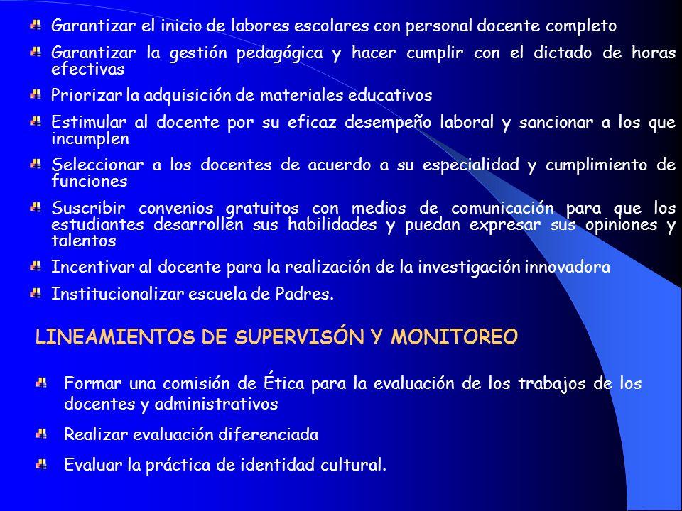 LINEAMIENTOS DE SUPERVISÓN Y MONITOREO