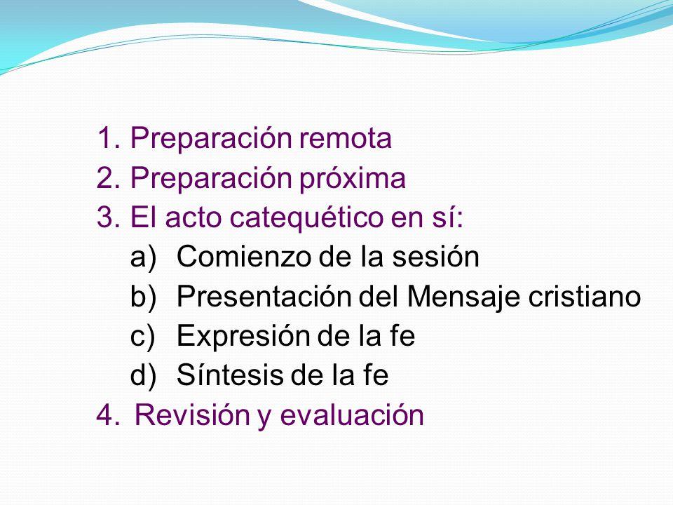 Preparación remota Preparación próxima. El acto catequético en sí: Comienzo de la sesión. Presentación del Mensaje cristiano.