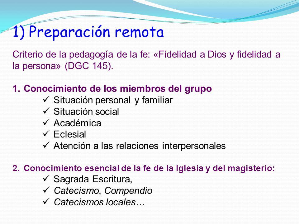 1) Preparación remota Criterio de la pedagogía de la fe: «Fidelidad a Dios y fidelidad a la persona» (DGC 145).