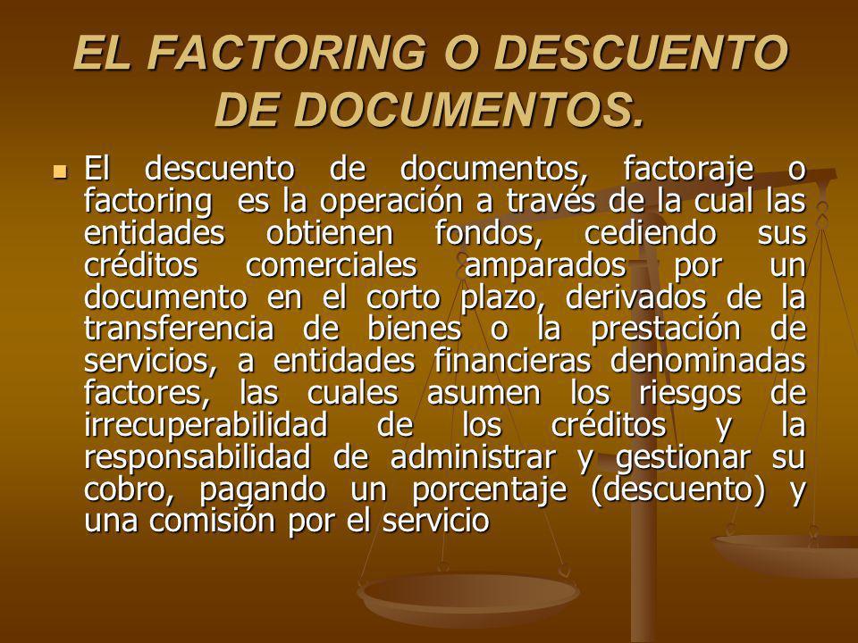 EL FACTORING O DESCUENTO DE DOCUMENTOS.