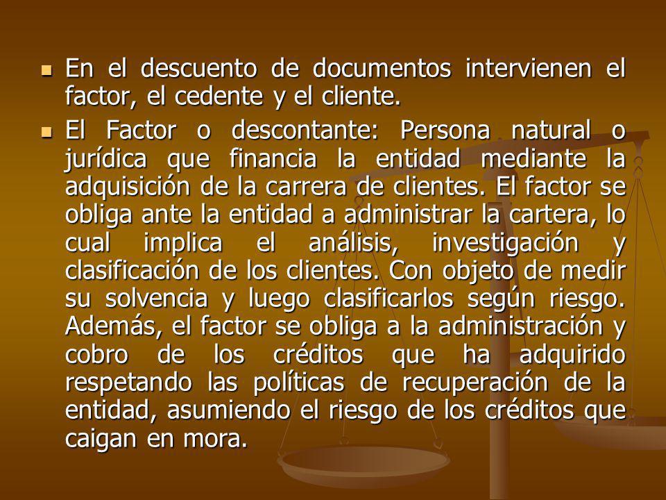 En el descuento de documentos intervienen el factor, el cedente y el cliente.