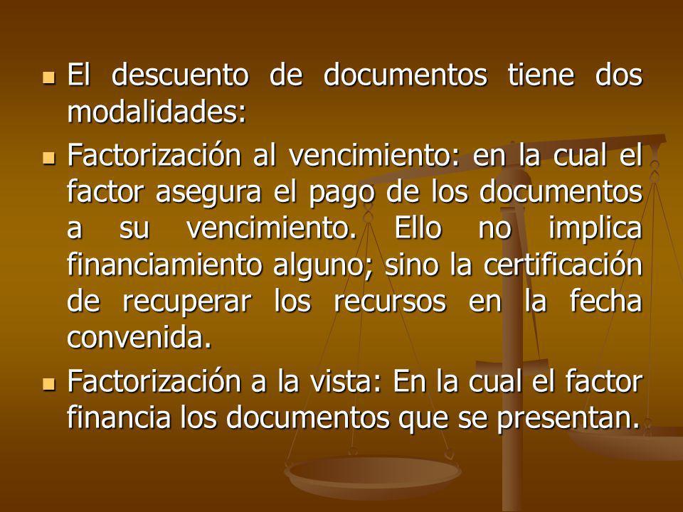 El descuento de documentos tiene dos modalidades: