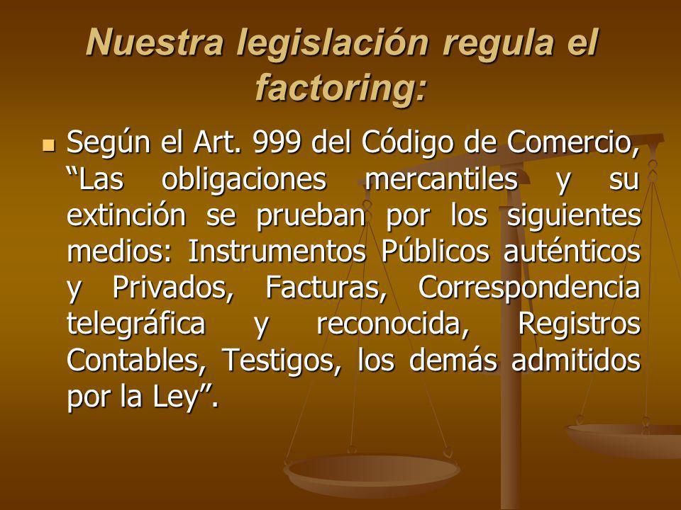 Nuestra legislación regula el factoring: