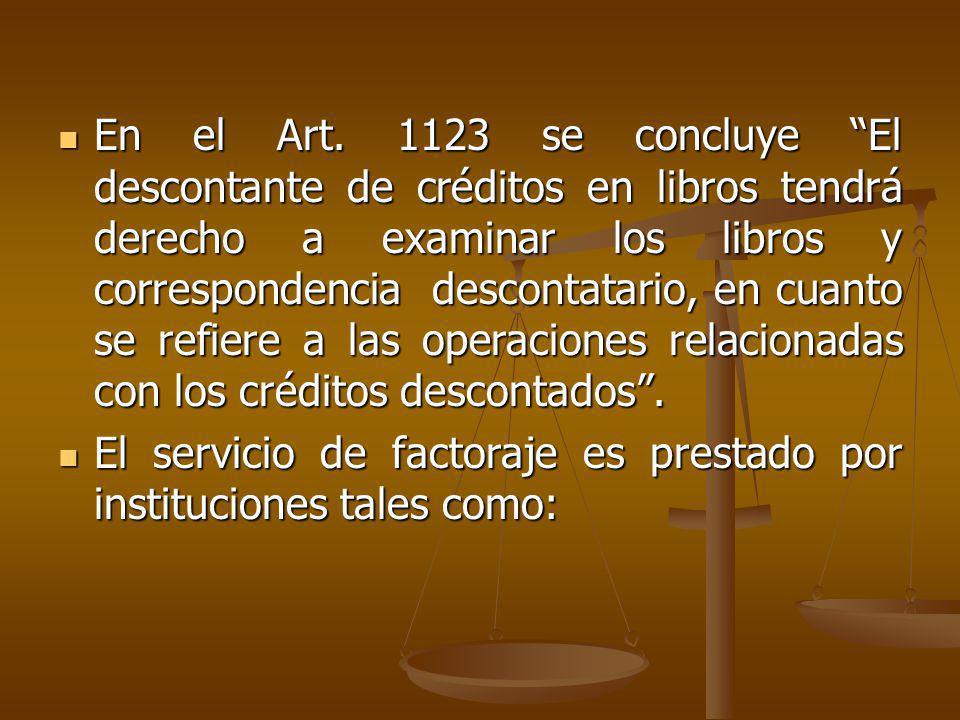 En el Art. 1123 se concluye El descontante de créditos en libros tendrá derecho a examinar los libros y correspondencia descontatario, en cuanto se refiere a las operaciones relacionadas con los créditos descontados .