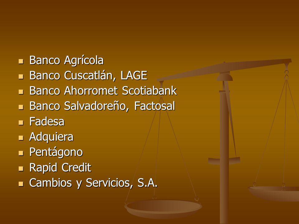 Banco Agrícola Banco Cuscatlán, LAGE. Banco Ahorromet Scotiabank. Banco Salvadoreño, Factosal. Fadesa.