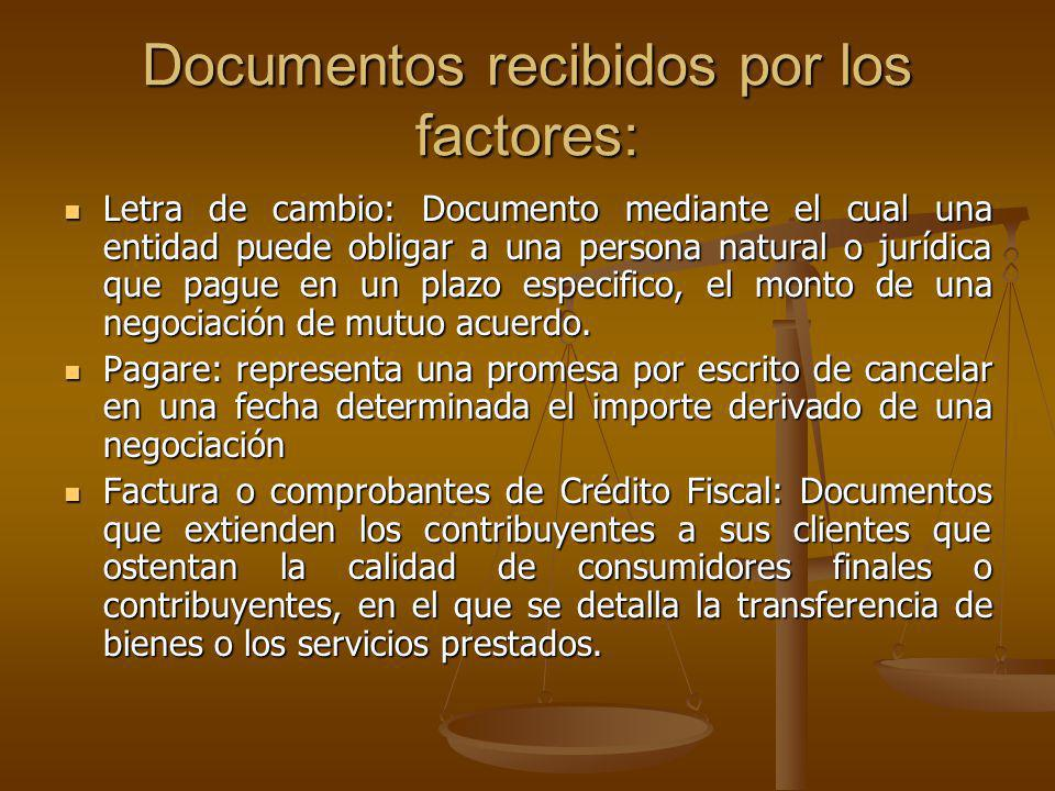 Documentos recibidos por los factores: