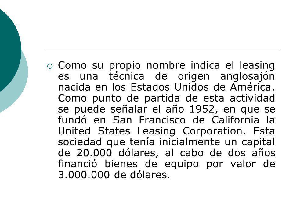 Como su propio nombre indica el leasing es una técnica de origen anglosajón nacida en los Estados Unidos de América.