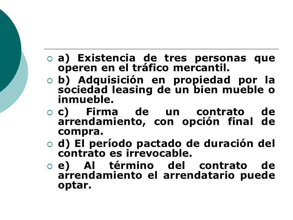 a) Existencia de tres personas que operen en el tráfico mercantil.