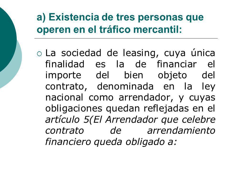a) Existencia de tres personas que operen en el tráfico mercantil: