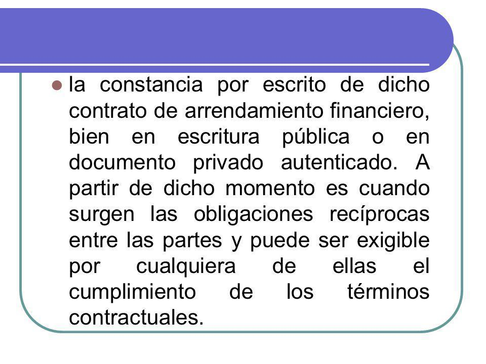 la constancia por escrito de dicho contrato de arrendamiento financiero, bien en escritura pública o en documento privado autenticado.
