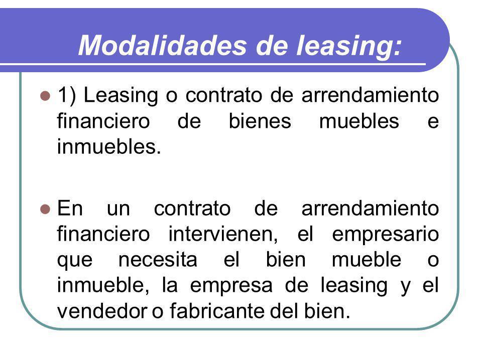 Modalidades de leasing: