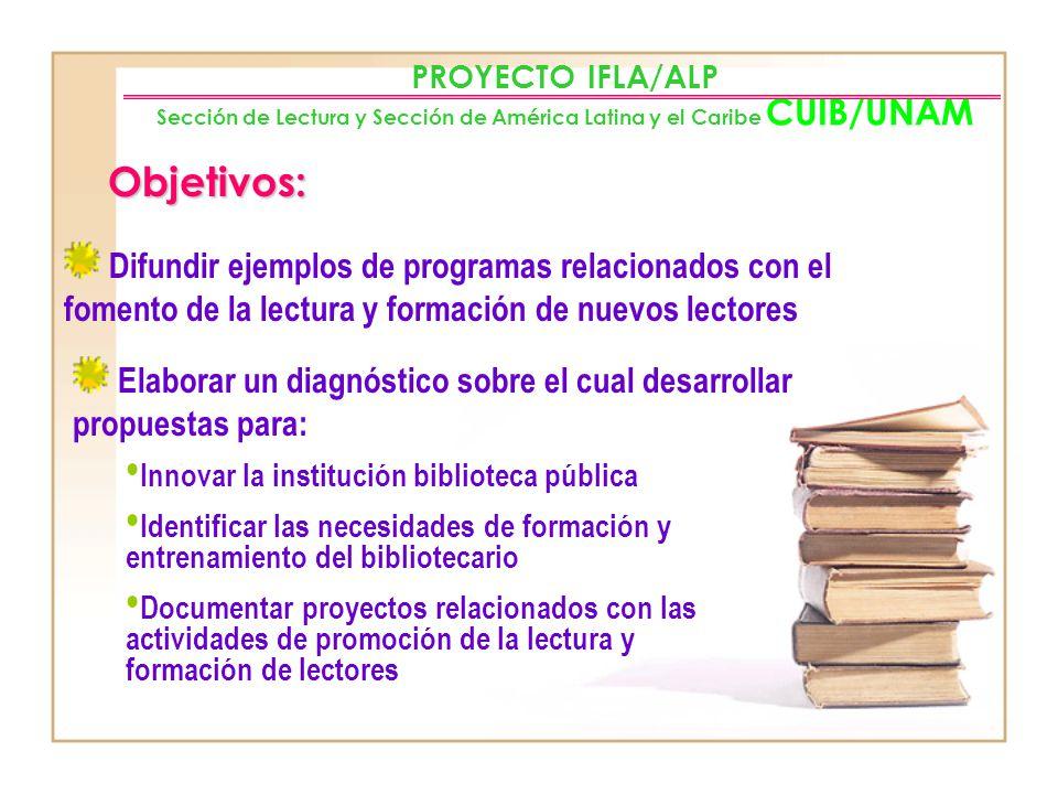 PROYECTO IFLA/ALP Sección de Lectura y Sección de América Latina y el Caribe CUIB/UNAM
