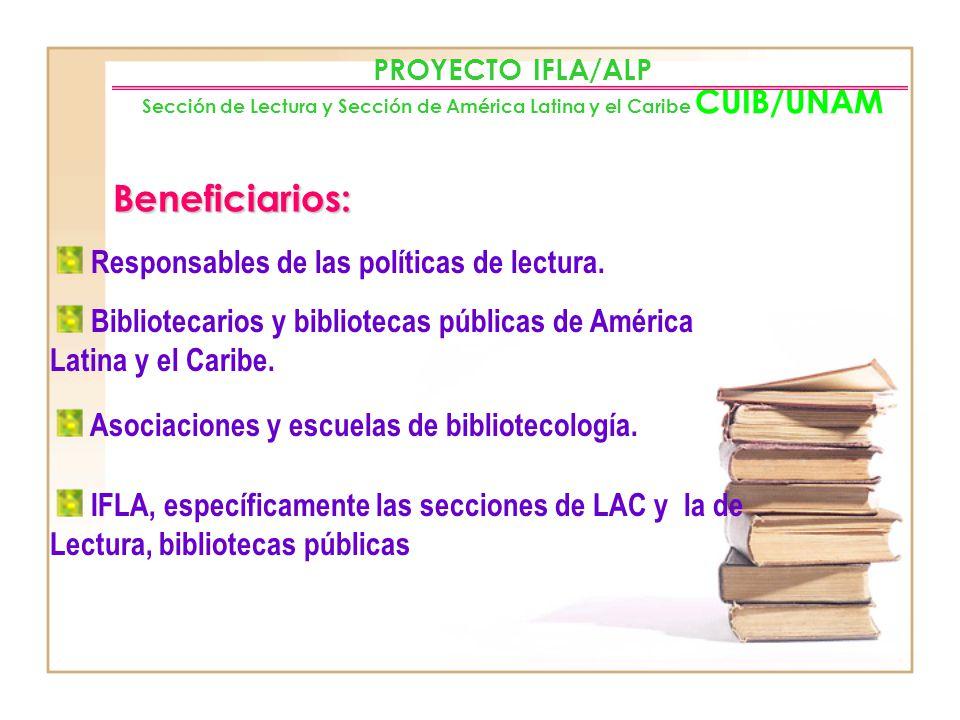 Beneficiarios: Responsables de las políticas de lectura.