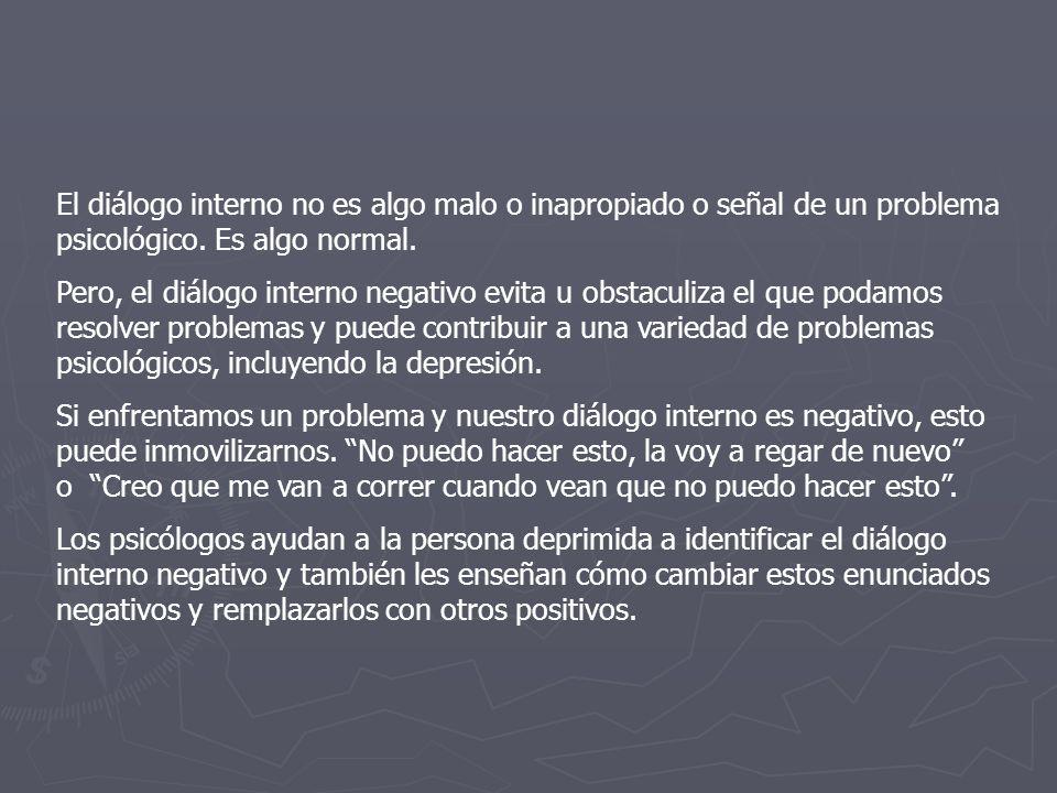 El diálogo interno no es algo malo o inapropiado o señal de un problema psicológico. Es algo normal.