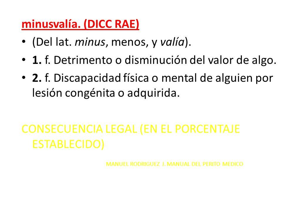 minusvalía. (DICC RAE) (Del lat. minus, menos, y valía). 1. f. Detrimento o disminución del valor de algo.