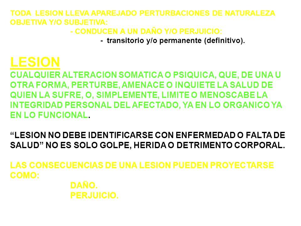 TODA LESION LLEVA APAREJADO PERTURBACIONES DE NATURALEZA OBJETIVA Y/O SUBJETIVA: