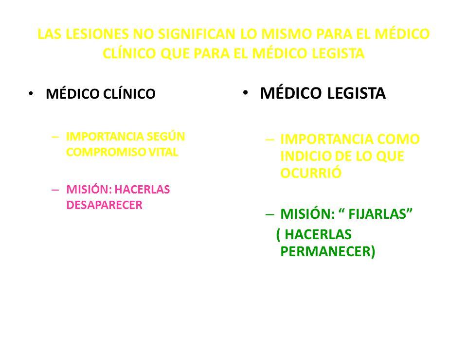 LAS LESIONES NO SIGNIFICAN LO MISMO PARA EL MÉDICO CLÍNICO QUE PARA EL MÉDICO LEGISTA