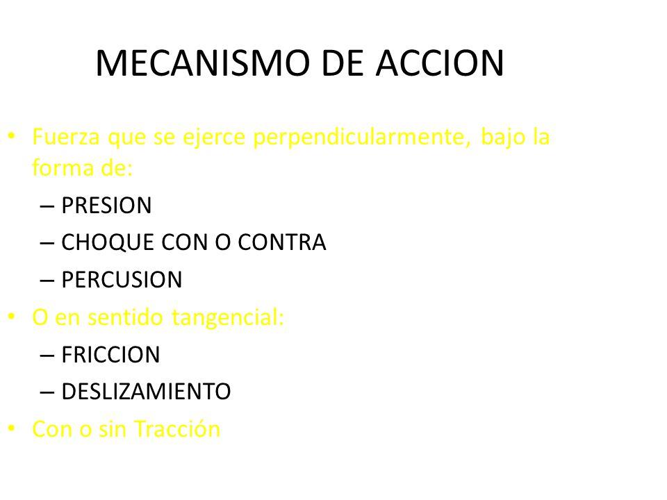 MECANISMO DE ACCION Fuerza que se ejerce perpendicularmente, bajo la forma de: PRESION. CHOQUE CON O CONTRA.