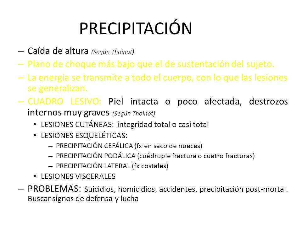 PRECIPITACIÓN Caída de altura (Según Thoinot)