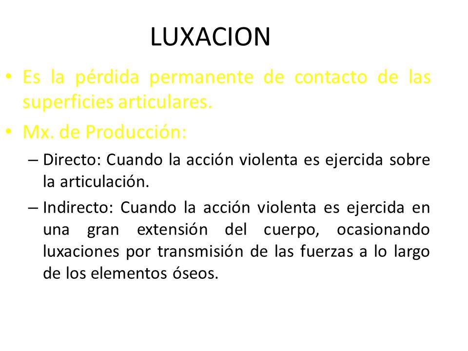 LUXACION Es la pérdida permanente de contacto de las superficies articulares. Mx. de Producción: