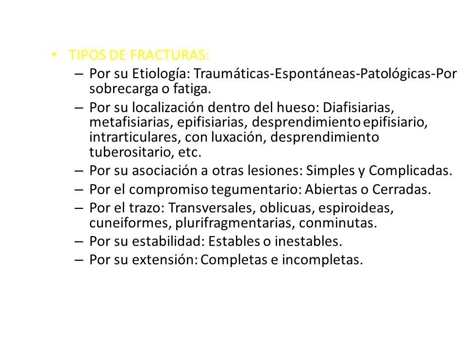 TIPOS DE FRACTURAS: Por su Etiología: Traumáticas-Espontáneas-Patológicas-Por sobrecarga o fatiga.
