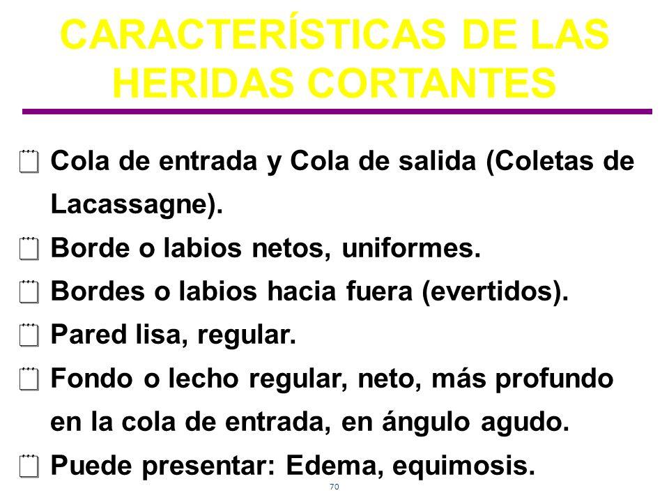 CARACTERÍSTICAS DE LAS HERIDAS CORTANTES