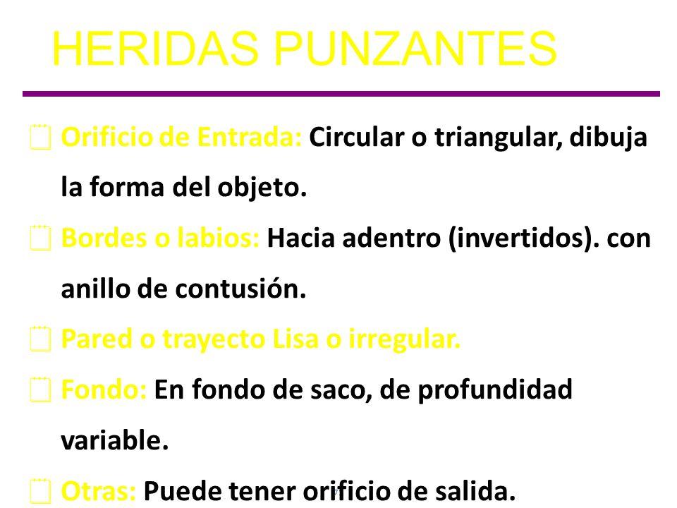 HERIDAS PUNZANTES Orificio de Entrada: Circular o triangular, dibuja la forma del objeto.