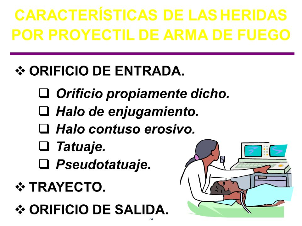 CARACTERÍSTICAS DE LAS HERIDAS POR PROYECTIL DE ARMA DE FUEGO
