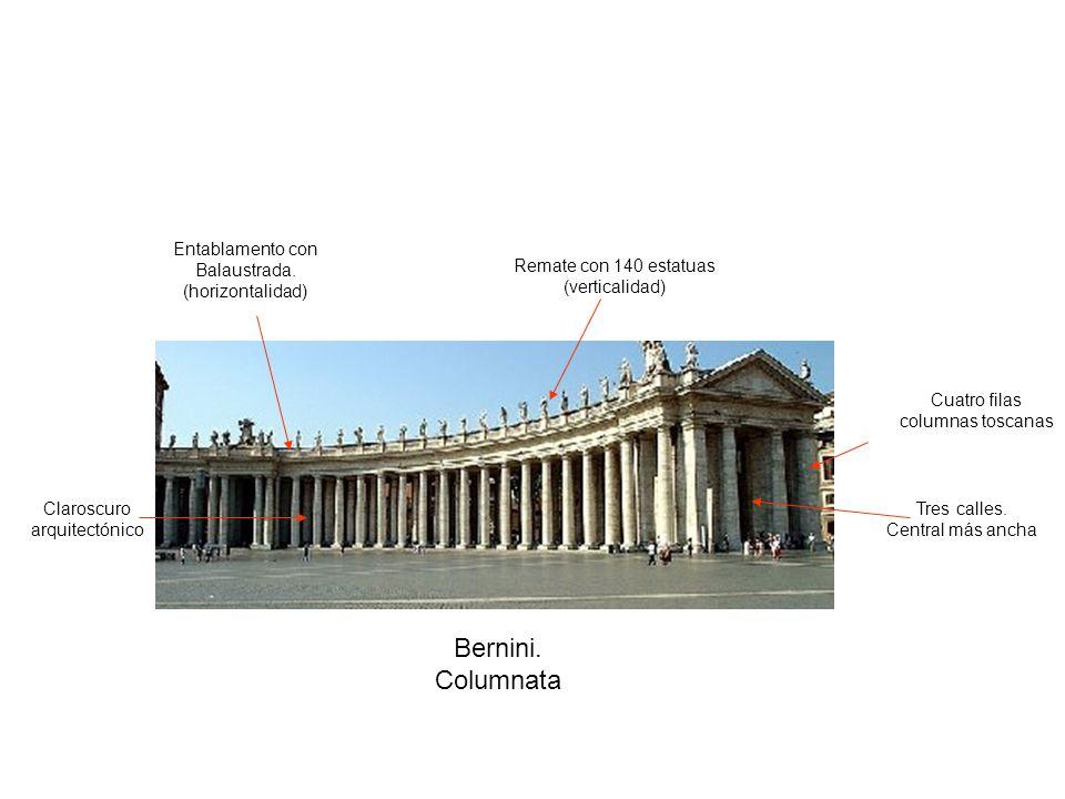 Bernini. Columnata Entablamento con Balaustrada. (horizontalidad)