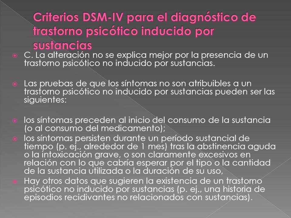 Criterios DSM-IV para el diagnóstico de trastorno psicótico inducido por sustancias