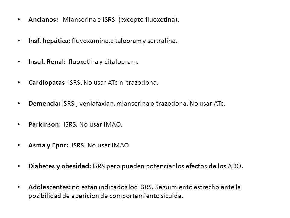 Ancianos: Mianserina e ISRS (excepto fluoxetina).