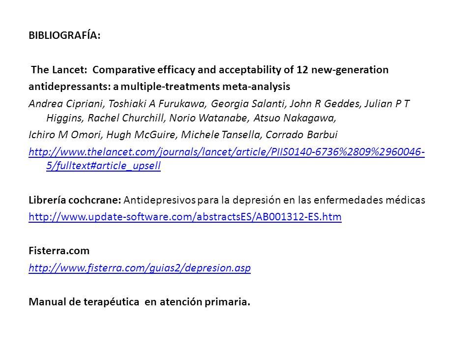 BIBLIOGRAFÍA: The Lancet: Comparative efficacy and acceptability of 12 new-generation antidepressants: a multiple-treatments meta-analysis Andrea Cipriani, Toshiaki A Furukawa, Georgia Salanti, John R Geddes, Julian P T Higgins, Rachel Churchill, Norio Watanabe, Atsuo Nakagawa, Ichiro M Omori, Hugh McGuire, Michele Tansella, Corrado Barbui http://www.thelancet.com/journals/lancet/article/PIIS0140-6736%2809%2960046-5/fulltext#article_upsell Librería cochcrane: Antidepresivos para la depresión en las enfermedades médicas http://www.update-software.com/abstractsES/AB001312-ES.htm Fisterra.com http://www.fisterra.com/guias2/depresion.asp Manual de terapéutica en atención primaria.