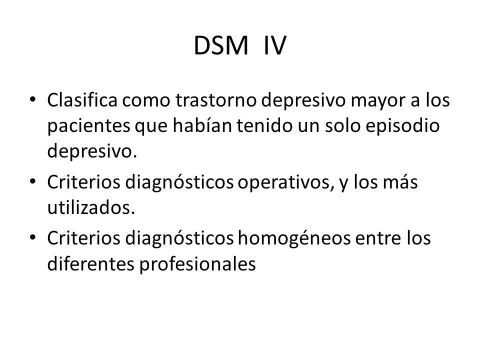 DSM IV Clasifica como trastorno depresivo mayor a los pacientes que habían tenido un solo episodio depresivo.