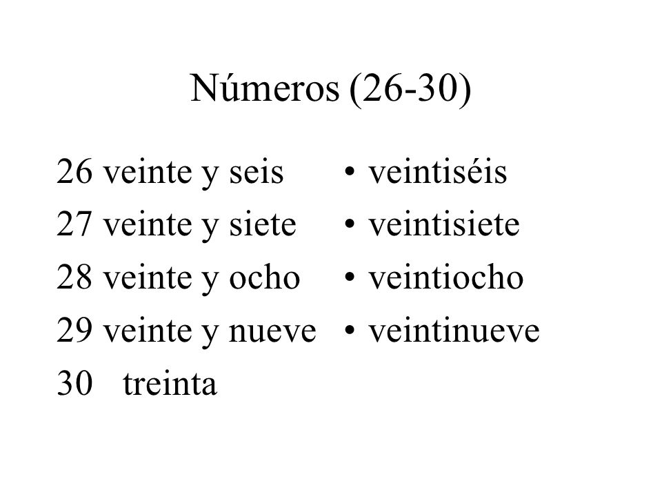 Números (26-30) 26 veinte y seis 27 veinte y siete 28 veinte y ocho