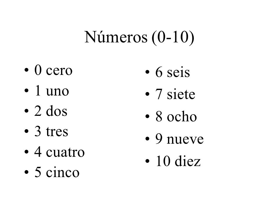 Números (0-10) 0 cero 1 uno 2 dos 3 tres 4 cuatro 5 cinco 6 seis