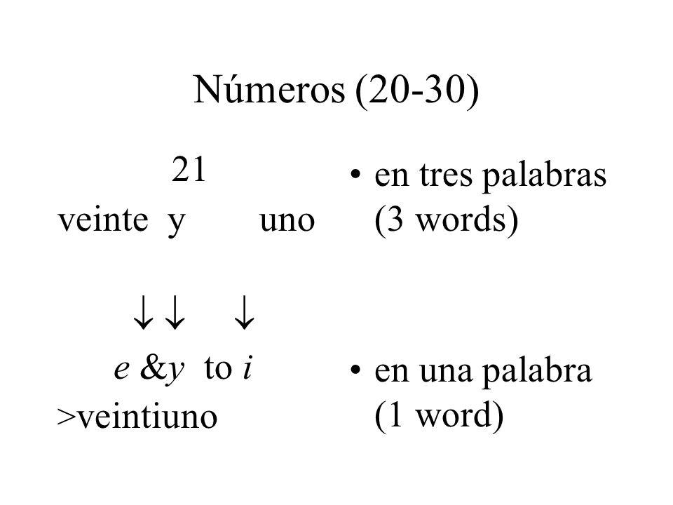 Números (20-30) 21 veinte y uno    e &y to i