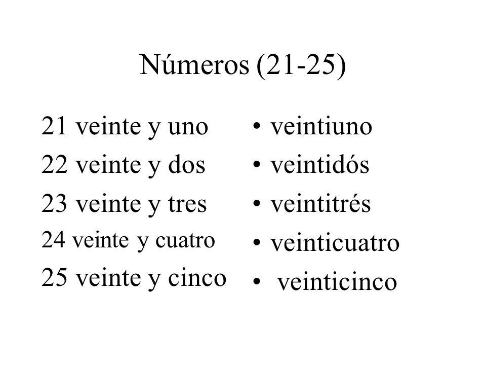 Números (21-25) 21 veinte y uno 22 veinte y dos 23 veinte y tres