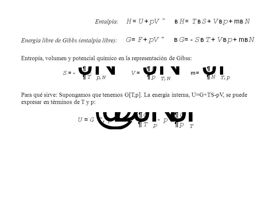 Entalpía: Energía libre de Gibbs (entalpía libre): Entropía, volumen y potencial químico en la representación de Gibss: