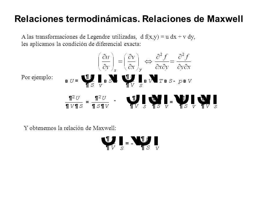 Relaciones termodinámicas. Relaciones de Maxwell