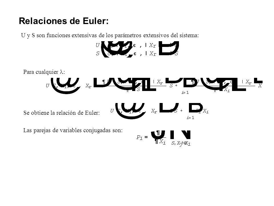Relaciones de Euler: U y S son funciones extensivas de los parámetros extensivos del sistema: Para cualquier :