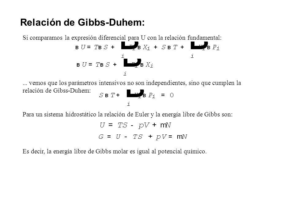 Relación de Gibbs-Duhem: