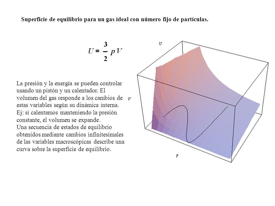 Superficie de equilibrio para un gas ideal con número fijo de partículas.